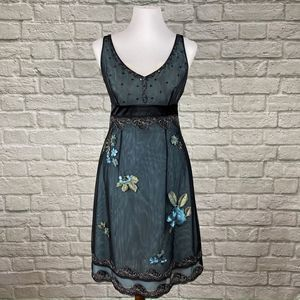 Adrianna Papell Blue Floral Mesh Overlay Dress